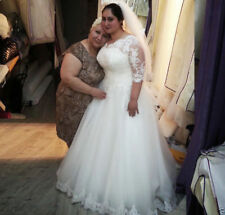 Mid Sleeves Plus Size Wedding Dress V neck Lace Bridal Gown Custom Size 22 24 26