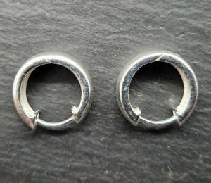 Vintage 925 Sterling Silver Small Hoop Earrings Hinged Huggies Simple