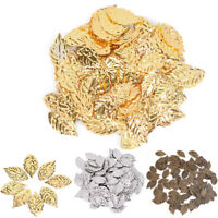 Fashion 50 Pcs Leaves Filigree Metal Crafts Jewelry DIY Accessories PendantODFK