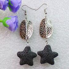 MM1758 Pair Of Colorful Black Volcano lava Starfish & Tibetan Silver Earring