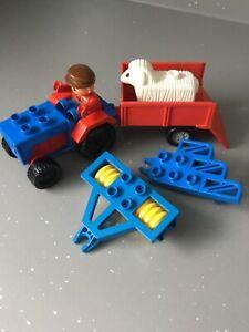 Lego Duplo Vintage Tractor, Trailer,Plough,Roller,Sheep