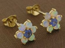 E058- Genuine 9ct Yellow Gold Natural Opal & Sapphire  Blossom Stud Earrings