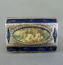 Emaillierte Silber Tabatiere mit Miniatur, Darstellung spielender Putti, 19. Jh.
