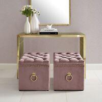 Velvet or Linen Ottoman Bench Storage Cube Coffee Table Nailhead Trim