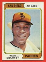 1974 Topps #250A Willie McCovey EX-EXMINT+ HOF San Diego Padres FREE SHIPPING