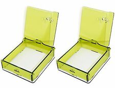 Set of 2 Name Card Organizer Boxes Detachable Quality Acrylic Green Storage Case