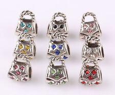 10pcs mix LAMPWORK CZ big hole spacer beads fit Charm European Bracelet B562
