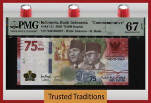TT PK 161 2020 INDONESIA 75,000 RUPIAH COMMEMORATIVE PMG 67 EPQ SUPERB GEM UNC!