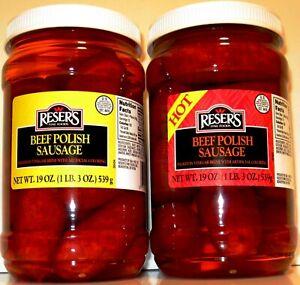 Beef Hot & Mild Pickled Polish Sausage Party Set 2 / 1 Quart Jars