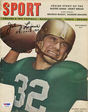 Johnny Lujack SIGNED Sport Magazine + Heisman 1947 Notre Dame PSA/DNA AUTOGRAPH