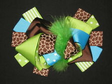 """NEW """"LIME BLUE GIRAFFE"""" Fur Hairbow Alligator Clips Girls Ribbon Bows 5.5 Inches"""