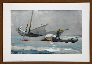 Winslow Homer Vintage Original Stowing the Sail Lithograph Printed in 1970
