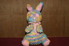 HAND MADE CROCHET BUNNY STUFFED TOY EASTER COLORS W/PINK  TRIM