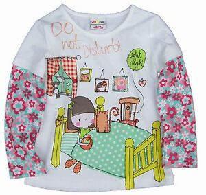 GIRLS WHITE LONG SLEEVE TOP WITH GIRL IN BED 18-24, 2-3, 3-4, 4-5, 5-6 YEARS