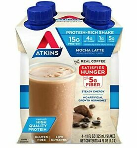 Atkins Mocha Latte Protein-Rich Shake HQ Protein Keto Gluten FREE 4 shakes