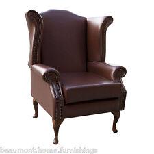 High Back Armchair Brown Vinyl Wing Chair Seat Queen Anne Fireside Living Room