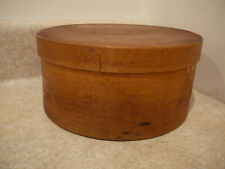 S20 ANTIQUE ROUND WOODEN PANTRY SPICE BOX YELLOW PAINT AAFA