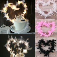 LED White Pink Black Feathers Wings Party Birthday Backing Cake Topper Decor