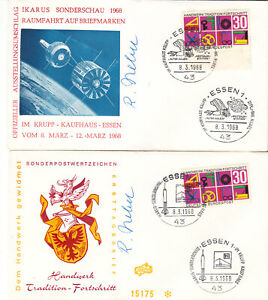 Germany 1968 Space Travel Show 2x signed covers