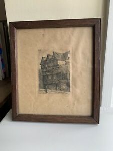 Antique Engraving Etching New Street Worcester Signed Miniature Old Frame Art