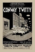 Country: Conway Twitty with Loretta Lynn at Portage Palace Poster 1975  12x18