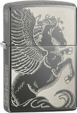 Zippo Choice Pegasus Engraved on all sides Black Ice WindProof Lighter 28802 NEW