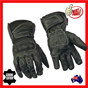 Motorcycle Motorbike Riding Gloves Breathable Mens Leather Cool Summer