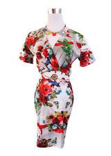 Calf Length Viscose Cocktail Floral Dresses for Women