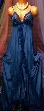 Vintage Plunge Blue Peignoir Sweep Sheer Mesh Nylon Lace Slip Hi Slit Gown S