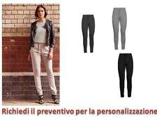 Pantalone Donna Fitness Tuta Felpato Con Polsini Russell leggins Sport Danza