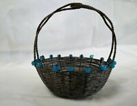 4 inch Antique German Silver Metal Candy Basket Tightly Woven Vintage Early 1900
