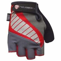 Cycling Bike Bicycle Gel Padded Half Finger Fingerless Gloves Mens Red