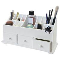 Wooden Desk Tidy Organiser Caddy Pen Holder Tidy Make Up 3 Drawer Cosmetic White