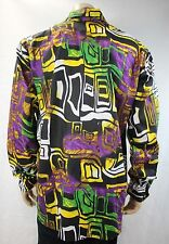 Mens Vtg 70s Style Disco Fresh Prince Crazy Psychedelic Shirt Festival Retro M/L