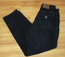 """Vtg Guess Jeans Black Denim Size 30 High Waist Mom Jeans 30"""" Inseam Tapered"""