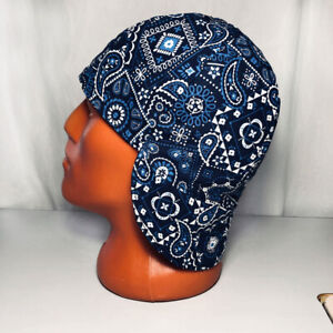 #17 Blue Bandana Welders Hats, Bikers Caps, Welding Cap Hat, Cotton.