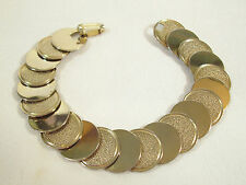 Pale Gold Plate Coin DISC Link Cuff Bracelet Shiny n Textured Vintage