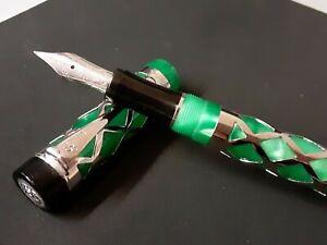 Laban Green Maya Fountain Pen - Medium Steel Nib - .925 Sterling Silver Overlay