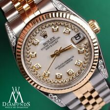 Women's Rolex 31mm Datejust 2 Tone White Mother Of Pearl String Diamond Dial