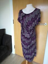 Ladies Dress Size 20 TU Purple Stretch Ruched Smart Party Evening Wedding