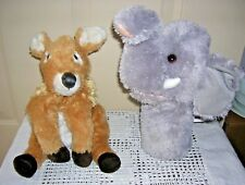 "Lot of 2 Aurora World 10"" Puppets - Elephant and White-tailed Deer EUC"