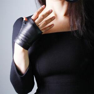 100% REAL LEATHER Tech Gloves Fingerless Short Black Wristlet Animal Print