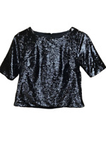 NEW TOPSHOP Black Sequin Crop Top Sparkly Party Evening Size 10 BNWT