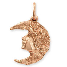 9ct ROSE Gold Art Nouveau Style LADY In CRESCENT MOON Pendant (Handmade UK)
