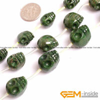 """Green Dyed Pyrite Carved Skull Beads For Paracord DIY Jewelry Making Strand 15"""""""