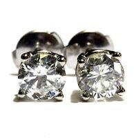 GIA 14k white gold 2ct round diamond stud clutchbacks earrings estate vintage