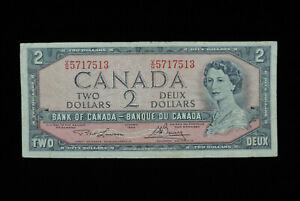 1954 $2 Dollar Bank of Canada Banknote Bill V/G 5717513 Lawson Bouey F Grade