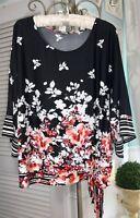 NEW Plus Size 1X Black Floral Blouse Shirt Tie Top