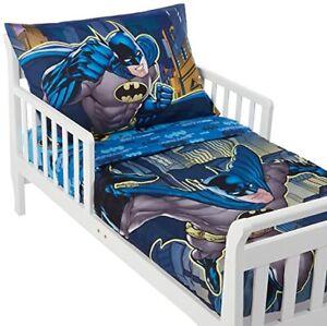 Batman DC Comics 4-Piece Toddler Bed Set Pillowcase Quilt Fitted Flat Soft NIP