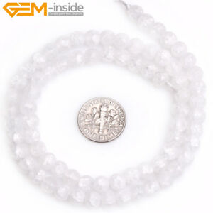 """Fashion Faceted Natural Frost Matte White Quartz Beads for Jewelry Making 15"""""""